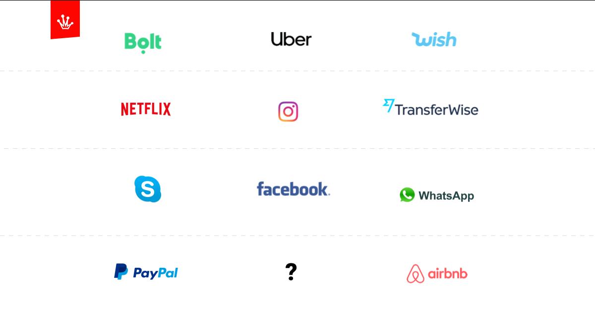 logo największych gigantów w świecie startupów - uber, facebook, instagram, bolt, wish i inni