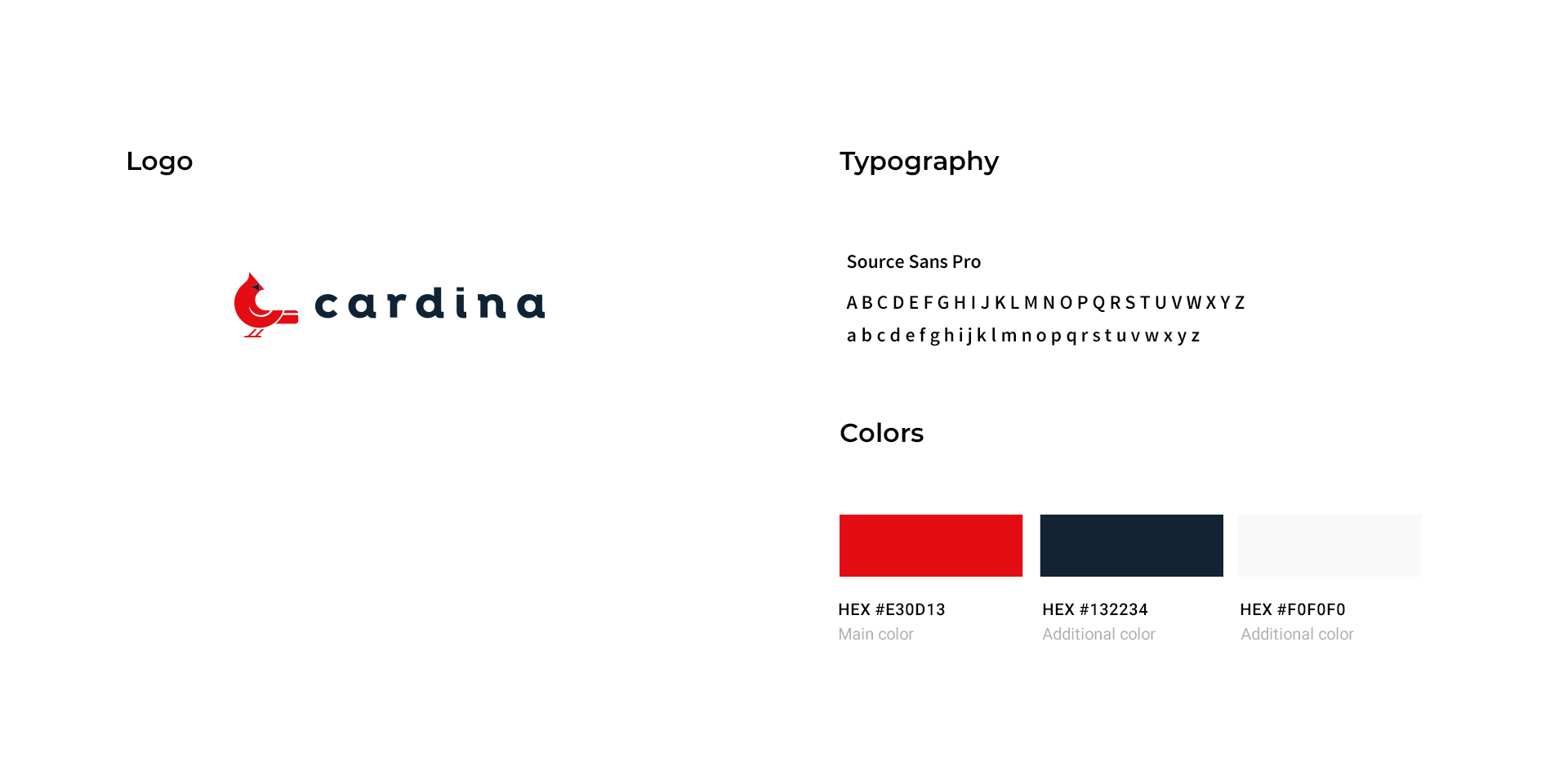 cardina, red logo of a bird with a black logotype on its right. Typography used: source sans pro, colors used: (main color: red) hex #E30D13, (additional color: navy blue) hex #132234, (additional color: white) hex #F0F0F0