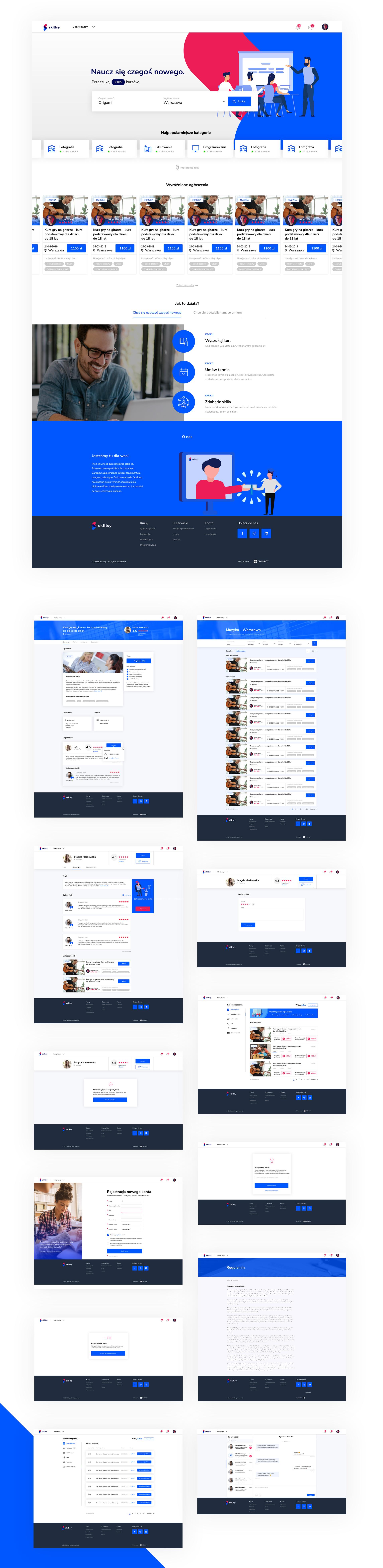 mockup widoku desktopowego platformy Skillsy, stworzonej przez agencję digitalową frogriot