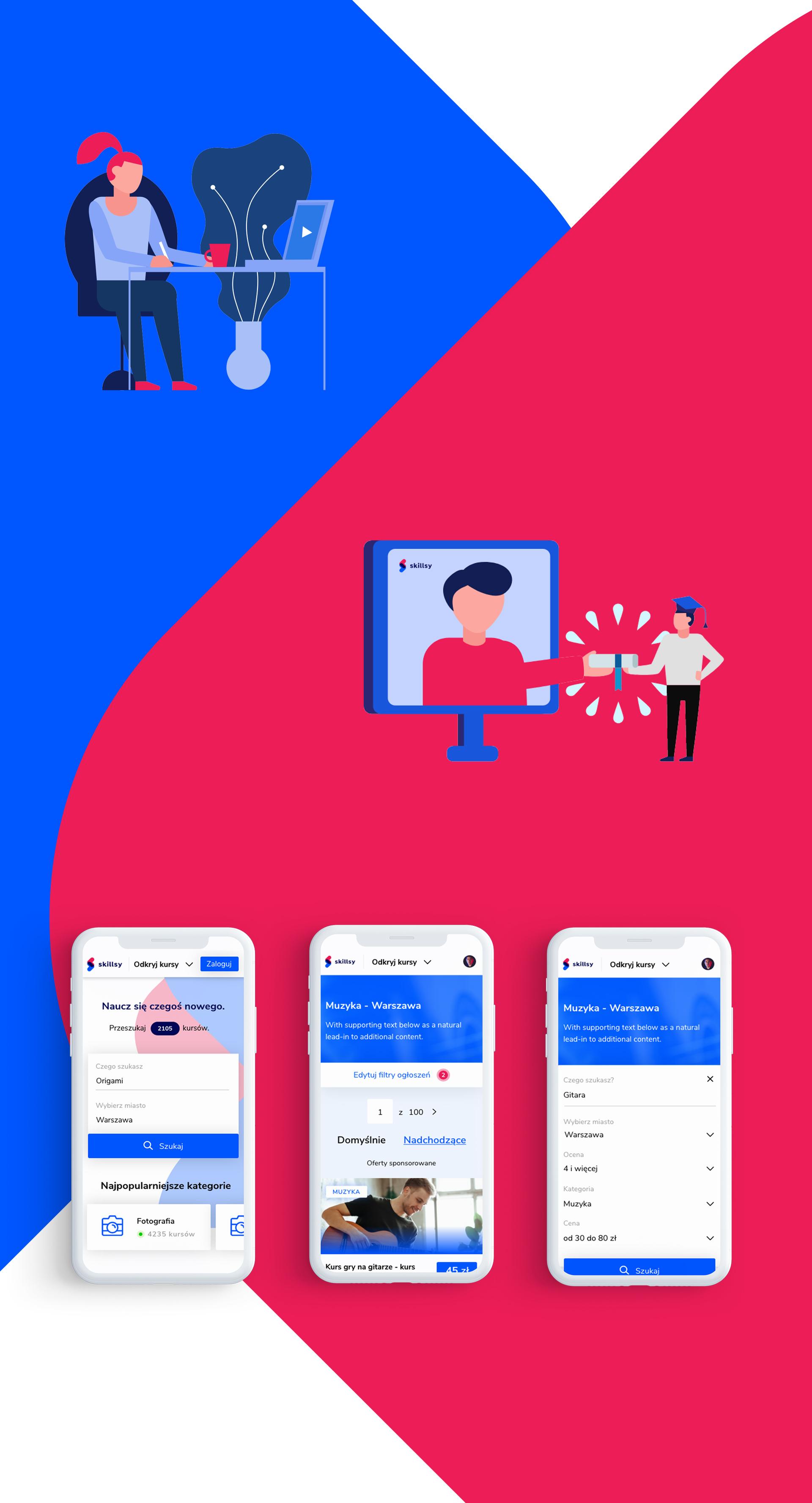 mockup mobilnej wersji platformy skillsy, stworzonej przez zespół frogriot