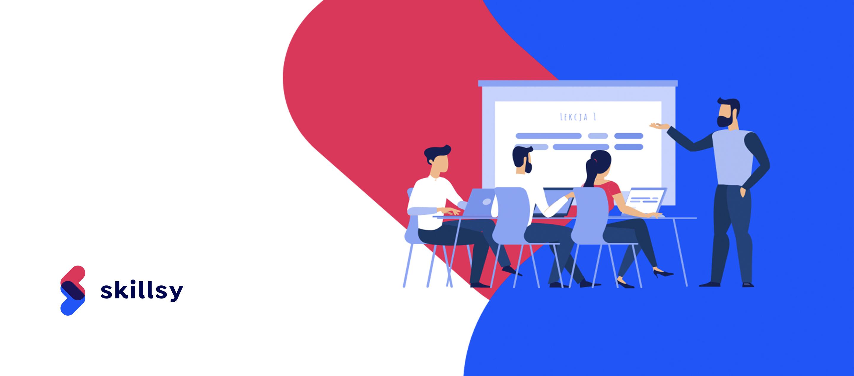Logo Skillsy oraz grafika przedstawiająca trzech uczniów i nauczyciela przy tablicy. kolejny polski startup - Skillsy. Łączy on organizujących wszelkiego rodzaju kursy i szkolenia (lub po prostu osoby posiadające wiedzę) z ich poszukującymi.
