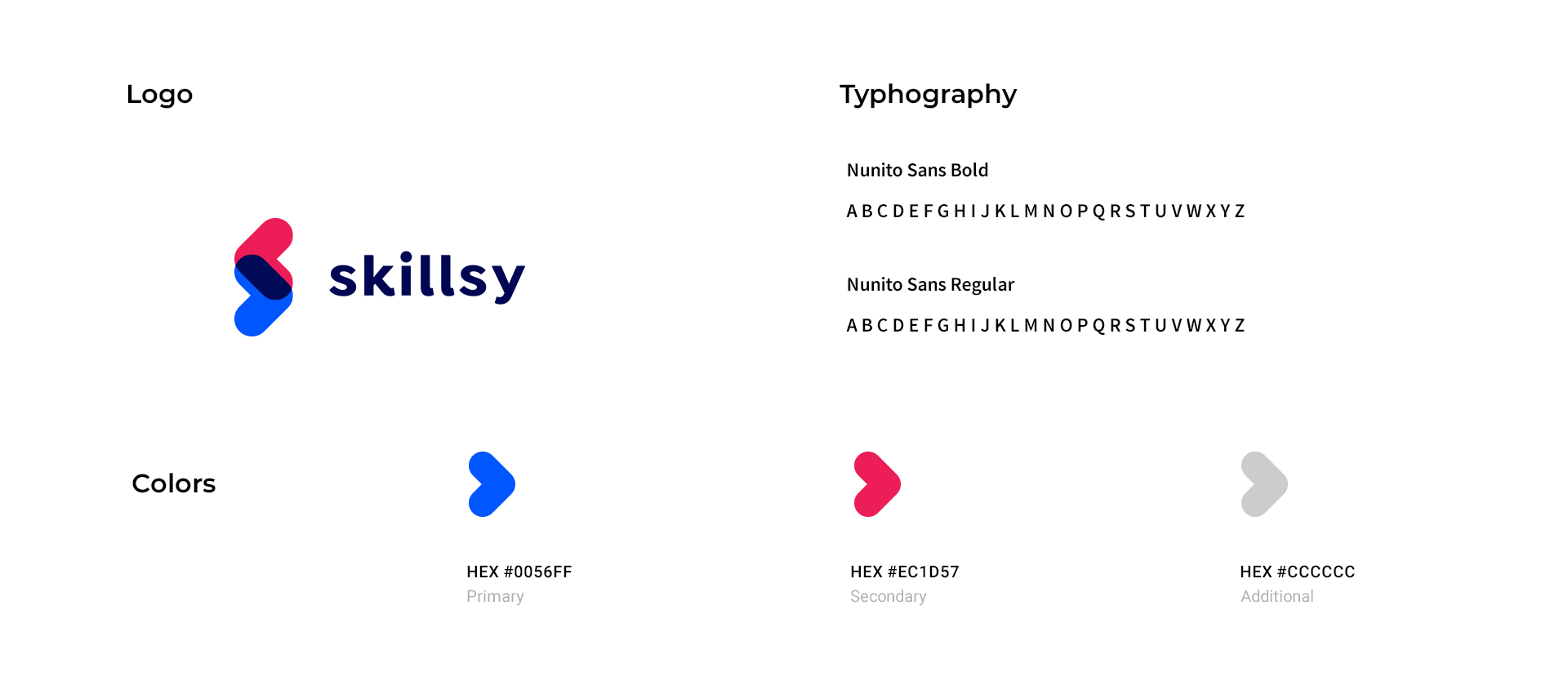 Skills logo, typography and brand colors and icons