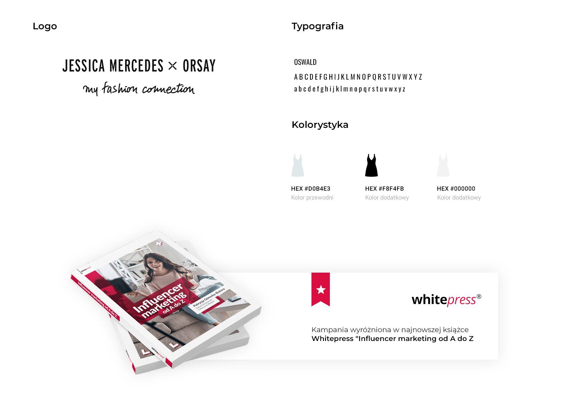 logo kampanii ORSAY z Jessicą Mercedes, typografia wykorzystana w projekcie i kolory akcji. Pod spodem informacja o tym, że kampania została wyróżniona w najnowszej książce Whitepress o influencer marketingu