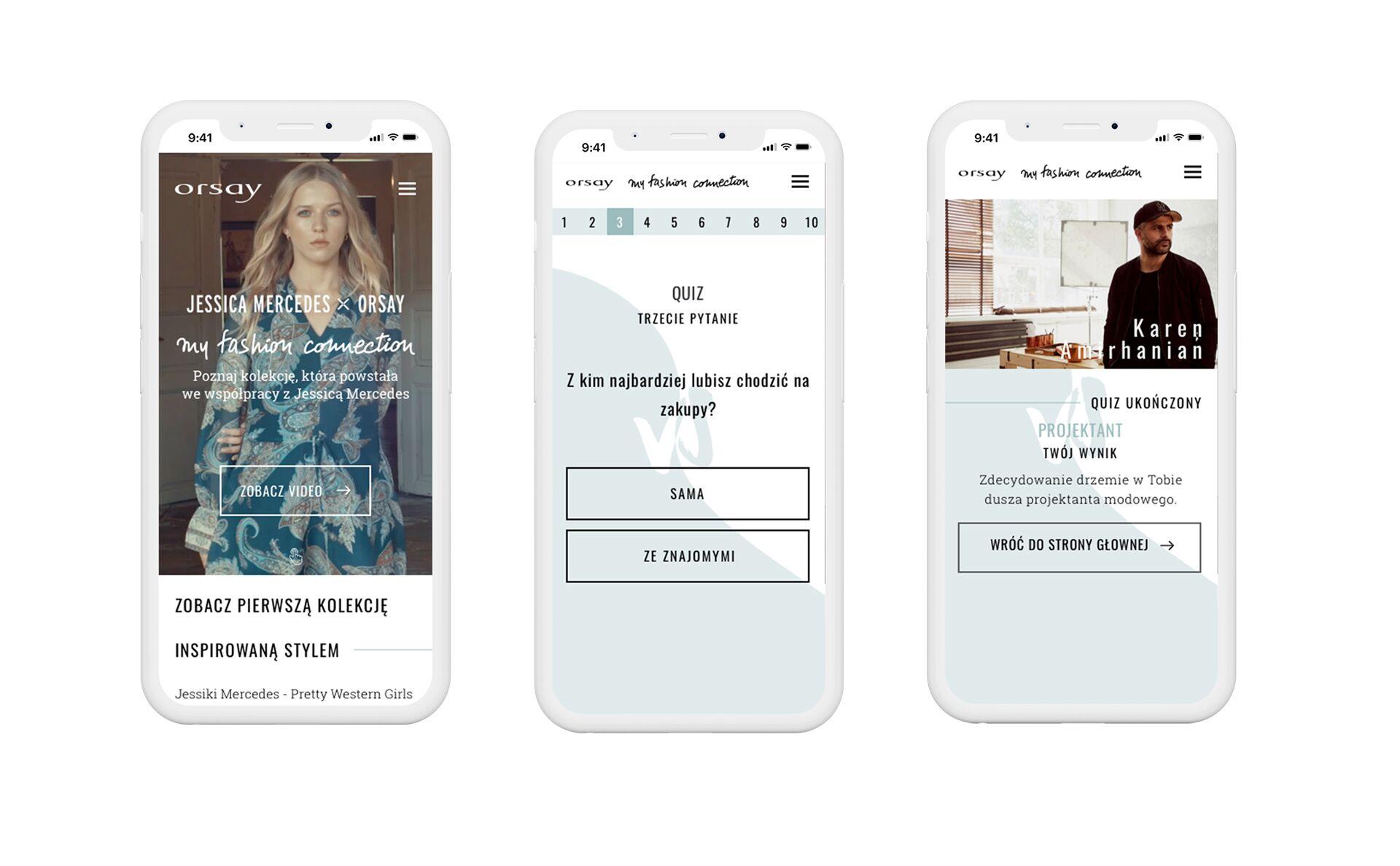 wersja mobilna aplikacji konkursowej orsay i jessici mercedes na potrzeby akcji: My Fashion Collection
